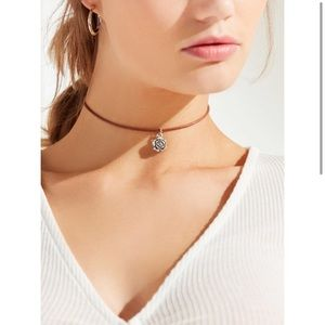 Urban Outfitters// Leather Floral Charm Choker